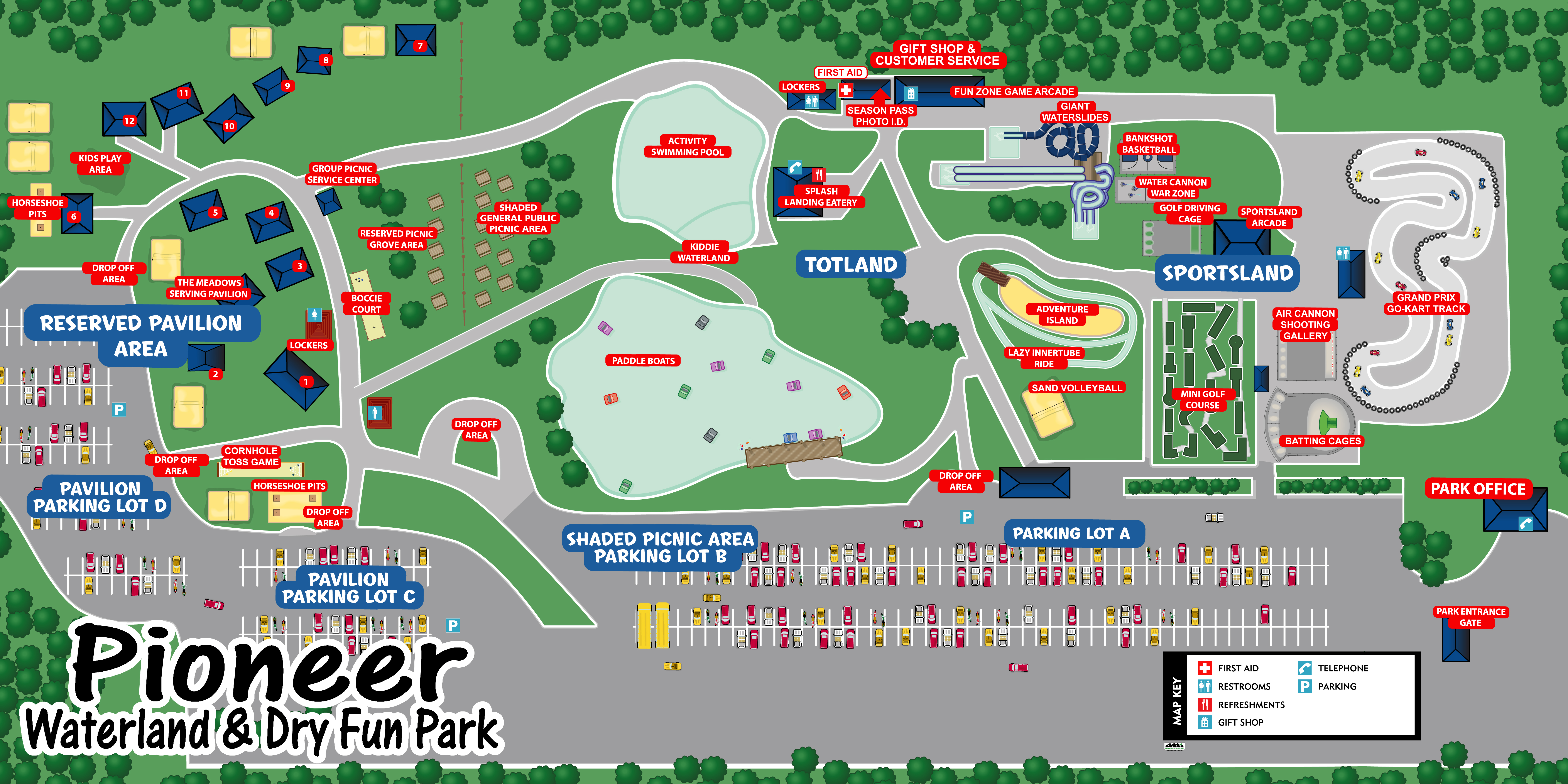 Ohio S Premier Waterland And Dry Fun Park Pioneer Waterland Park Map